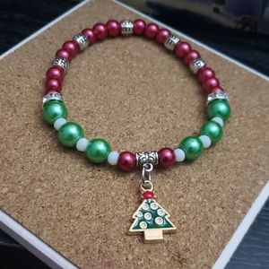 "Handmade Small Xmas Tree 7.5"" bracelet"
